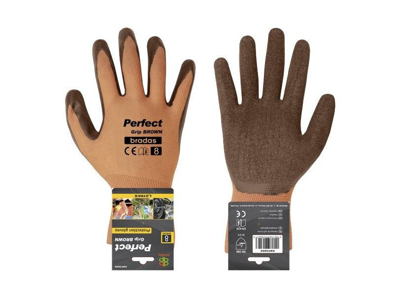 Bradas PERFECT GRIP BROWN Kesztyű latex 8""